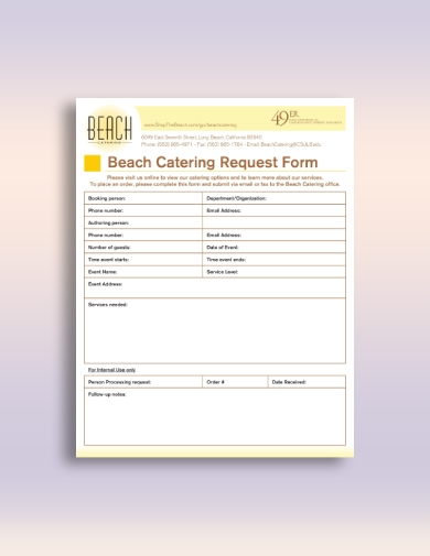 beach catering order form