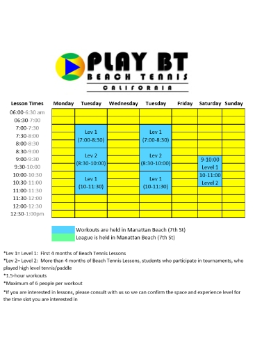 beach tennis lesson schedule