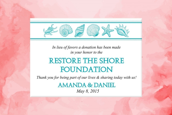 beach wedding favor donation card