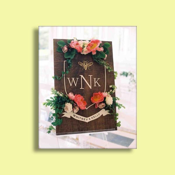 bee crest wedding sign