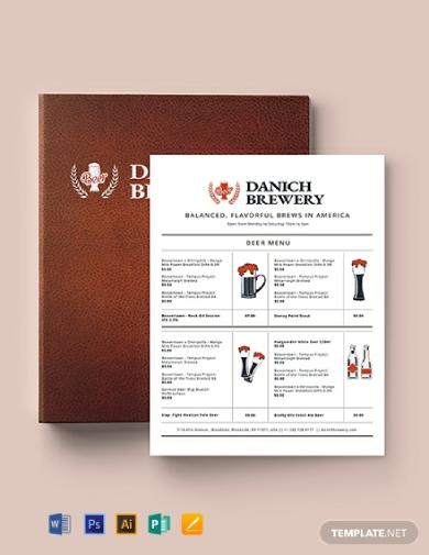 beer bar menu