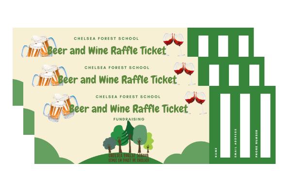 beer and wine drink raffle ticket