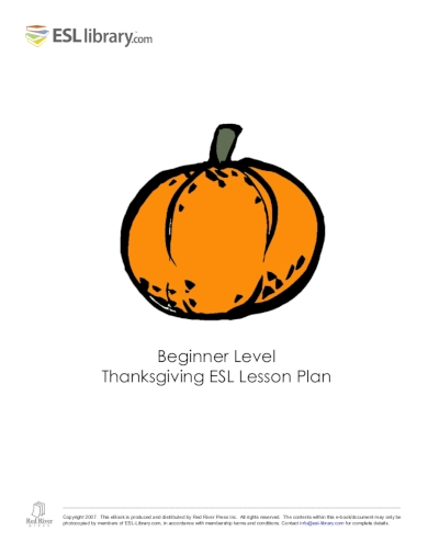 beginner thanksgiving esl lesson plan