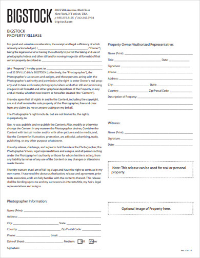 big stock property release form