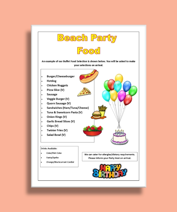 birthday beach party food menu