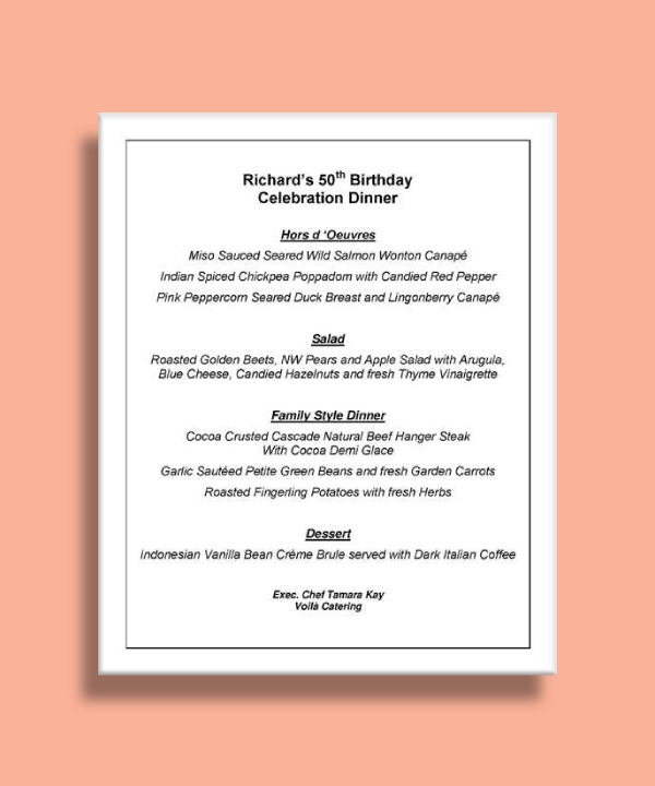 birthday dinner party menu