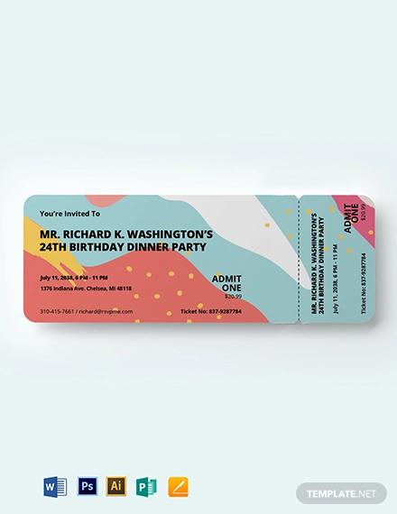 birthday dinner ticket template