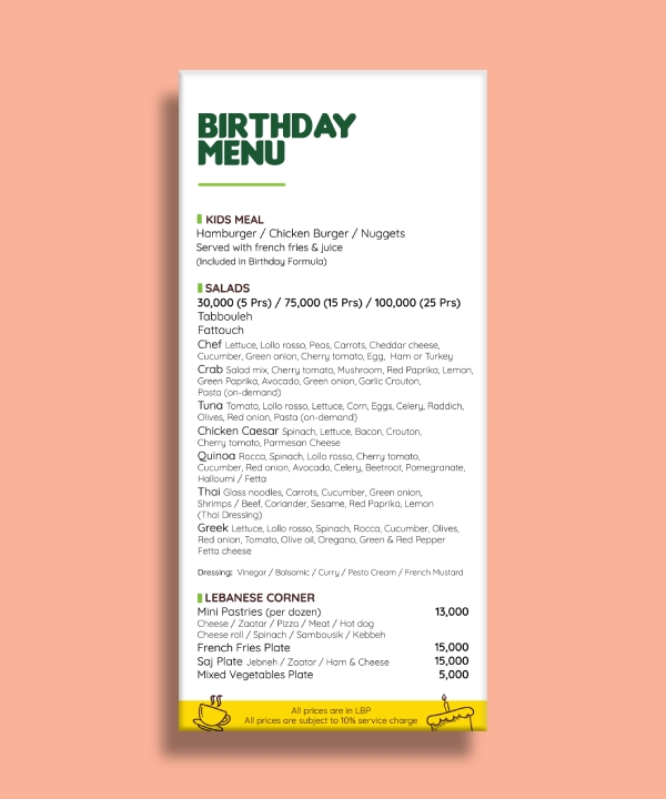 birthday menu package