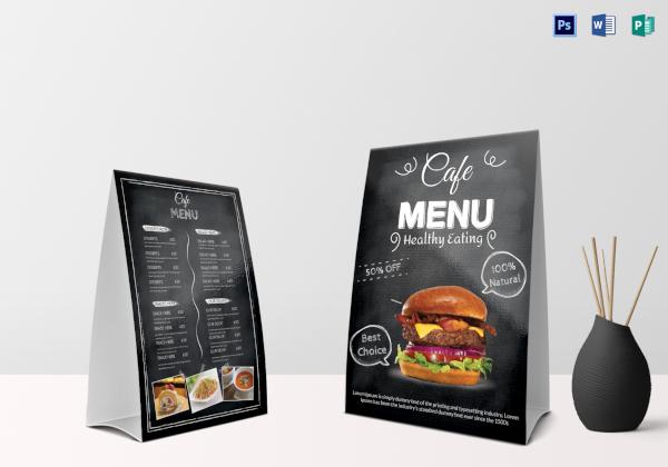 black cafe menu table tent
