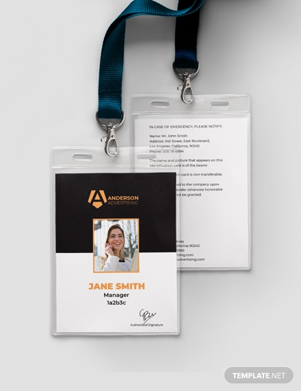 black real estate id card template