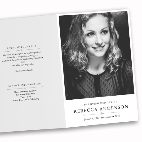 black and white obituary brochure