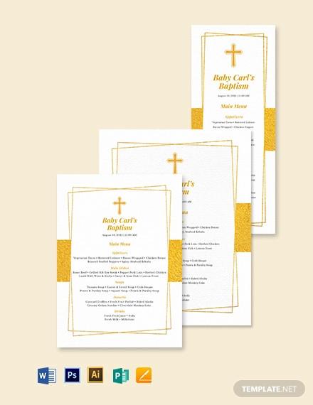 blank baptism menu template