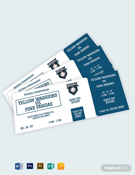 blank baseball ticket template