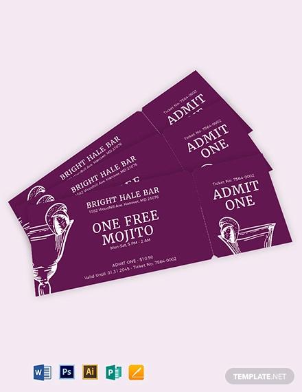 blank drink ticket template