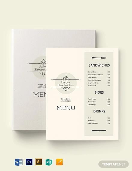 blank sandwich sub menu template