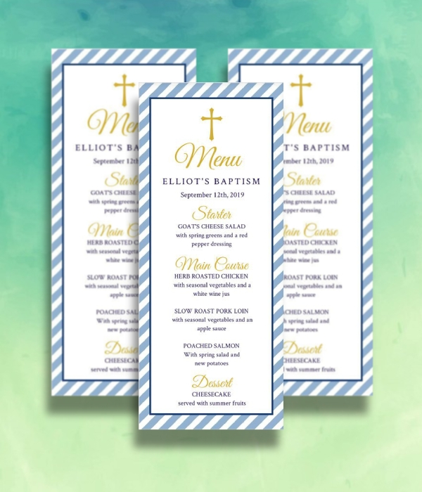 blue stripes baptism menu