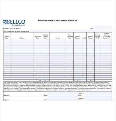 borrower debt real estate schedule