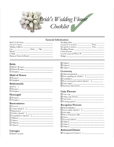 brides wedding flower checklist
