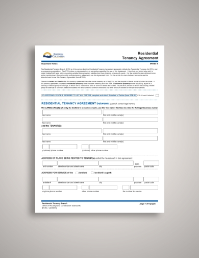 british columbia tenant lease agreement