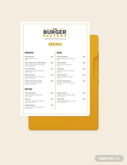burger poster menu template