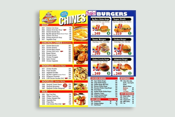 burger takeout menu