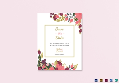 burgundy floral wedding save the date