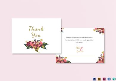 burgundy floral wedding thank you card
