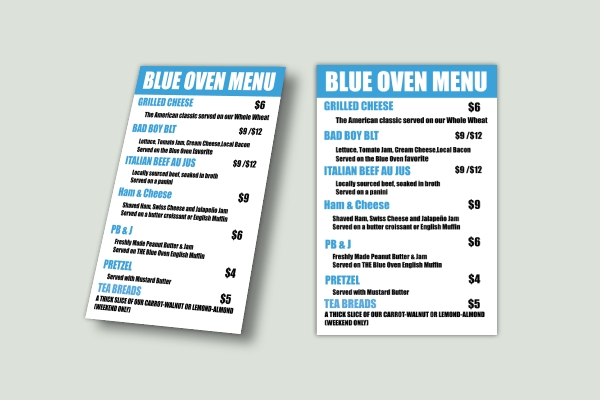 business table tent menu