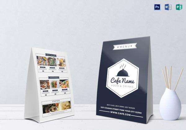 cafe menu table tent