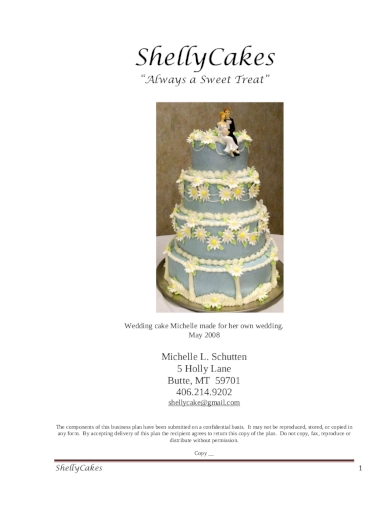 cake catering business plan