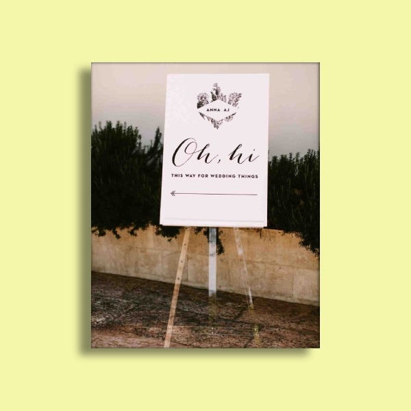 casual greeting wedding sign