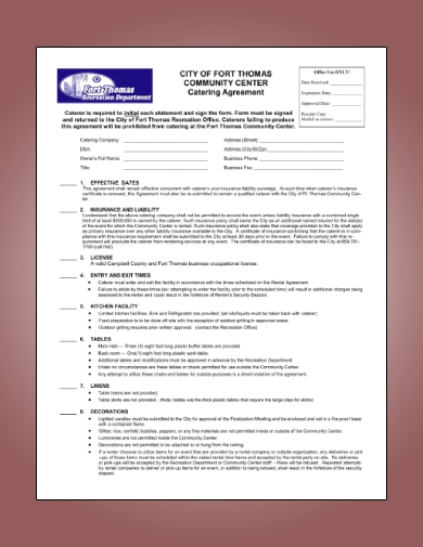 catering agreement form