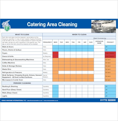 catering area cleaning schedule1