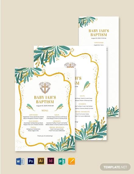 catholic baptism menu template