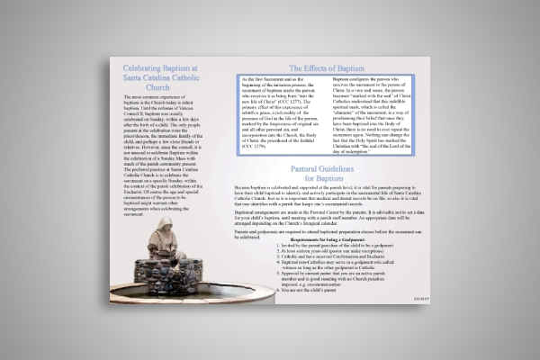 catholic church baptism brochure