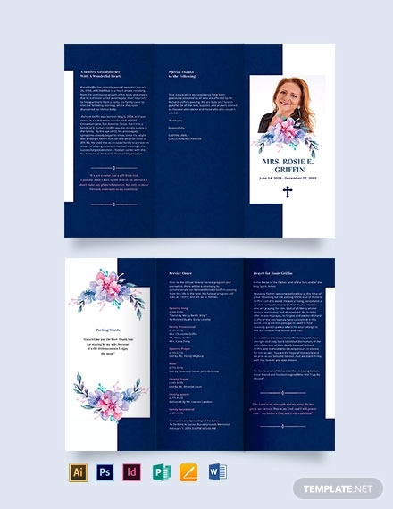 catholic funeral prayer tri fold brochure template