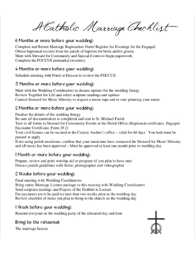 catholic wedding marriage checklist