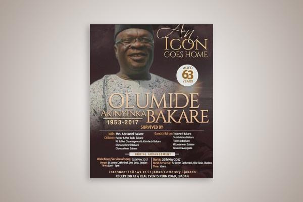 celebrity obituary flyer
