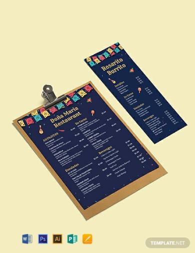 chalkboard mexican menu