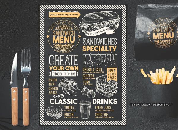 chalkboard sandwich menu