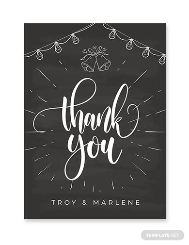 chalkboard wedding thank you card