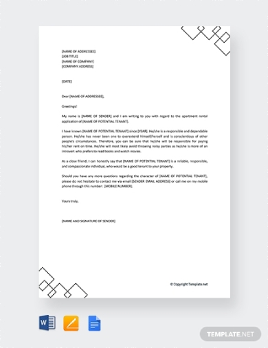 character reference letter for tenants apartment rental