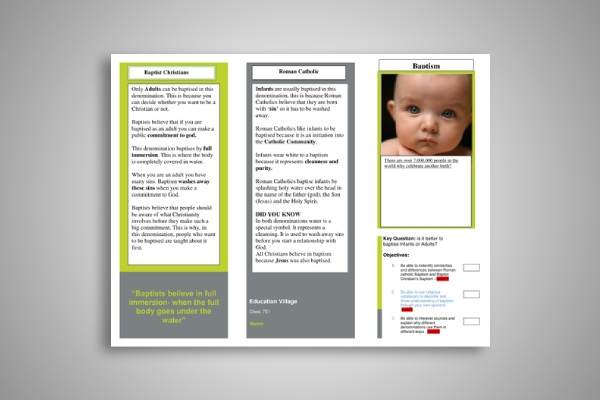 christian and catholic baptism brochure