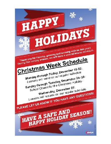 christmas holiday lesson schedule