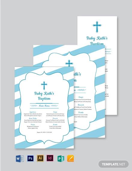 church baptism menu template