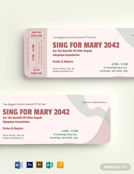 church event ticket template