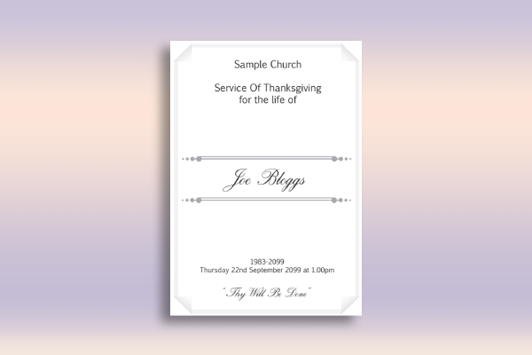 church funeral leaflet