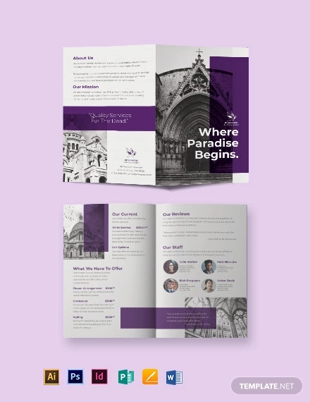 church funeral service bi fold brochure template