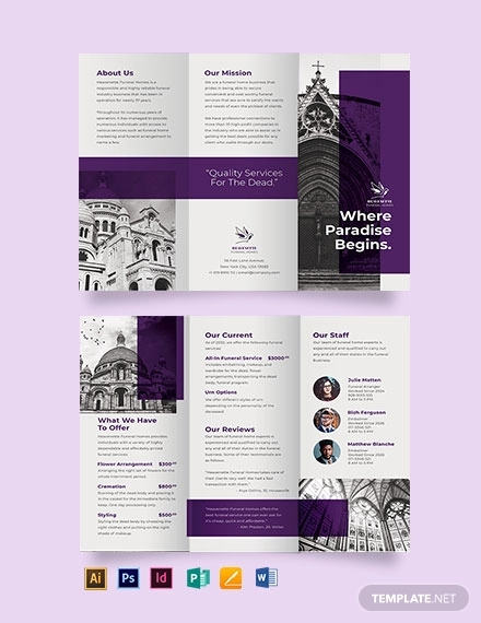 church funeral service tri fold brochure template