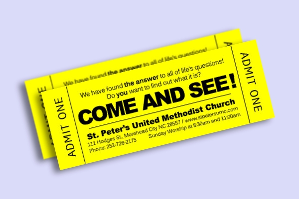 church invitation ticket